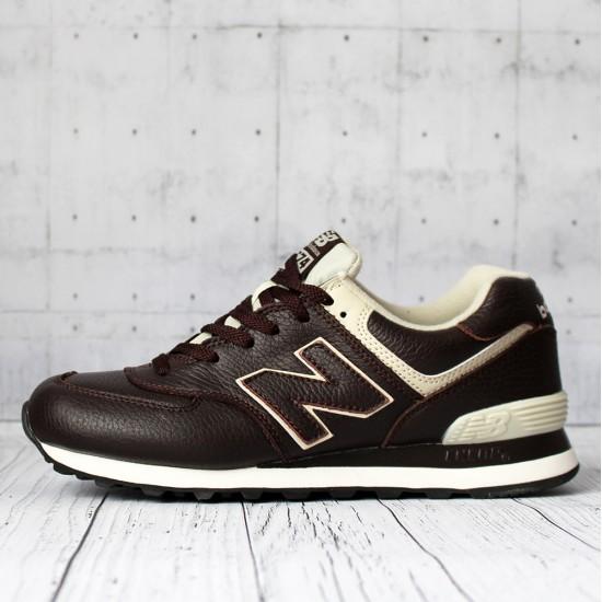 Кроссовки New Balance 574 кожаные коричневые
